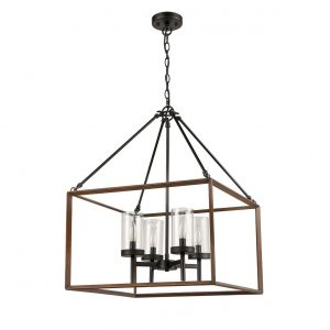 Wood Grain Box Pendant Chandelier