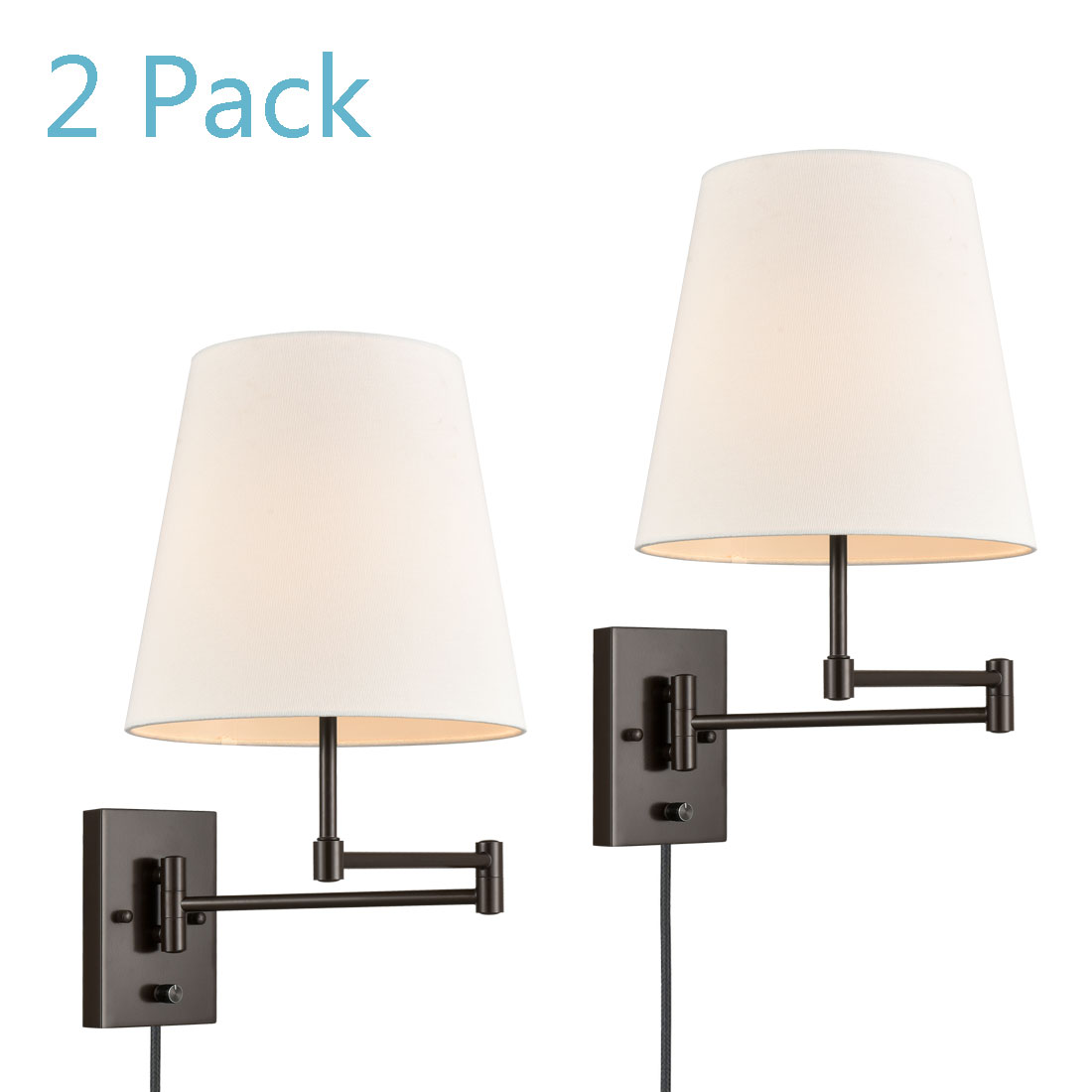 Modern Swing Arm Wall Sconce 10.2Shade Plug-in 2 Pack