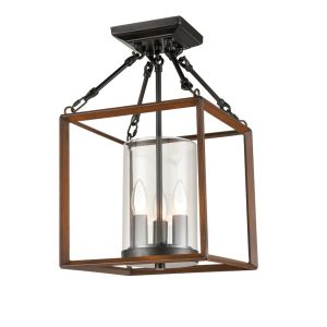 Square Cage Semi Flush Ceiling Lights Black Chandeliers