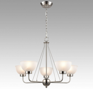 brushed nickel bowl shade chandelier