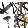 5 Light Large Farmhouse SphereOrb Chandelier Black Metal Globe Foyer Pendant Chandelier
