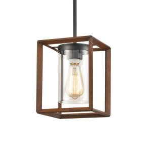 Farmhouse Glass Hanging Pendant Lights Square Metal Frame