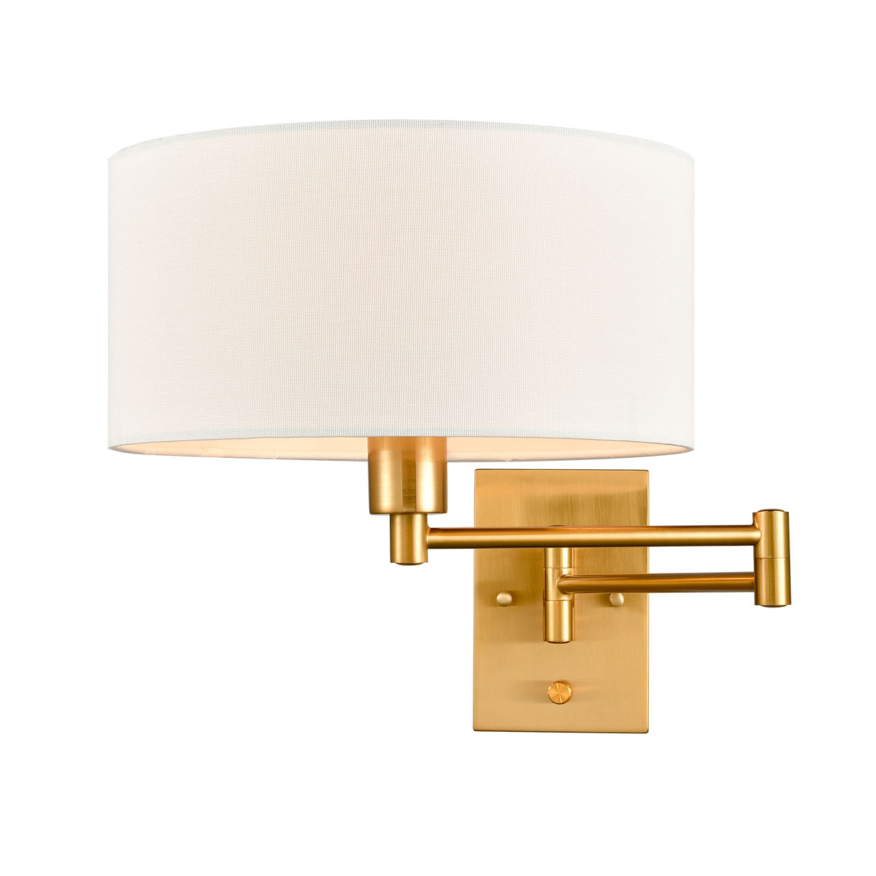 Farmhouse-Traditional-Swing-Arm-Wall-Lamps-Fabric-Shade-Brass-Finish