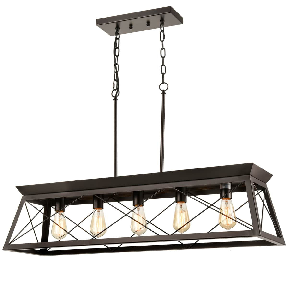 Industrial Cross Framed Trapezoidal Island Chandelier