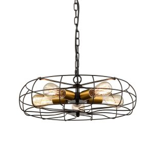 Industrial Hanging Chain Pendant Chandelier 5 Light Fan Style Rustic with Brass Socket