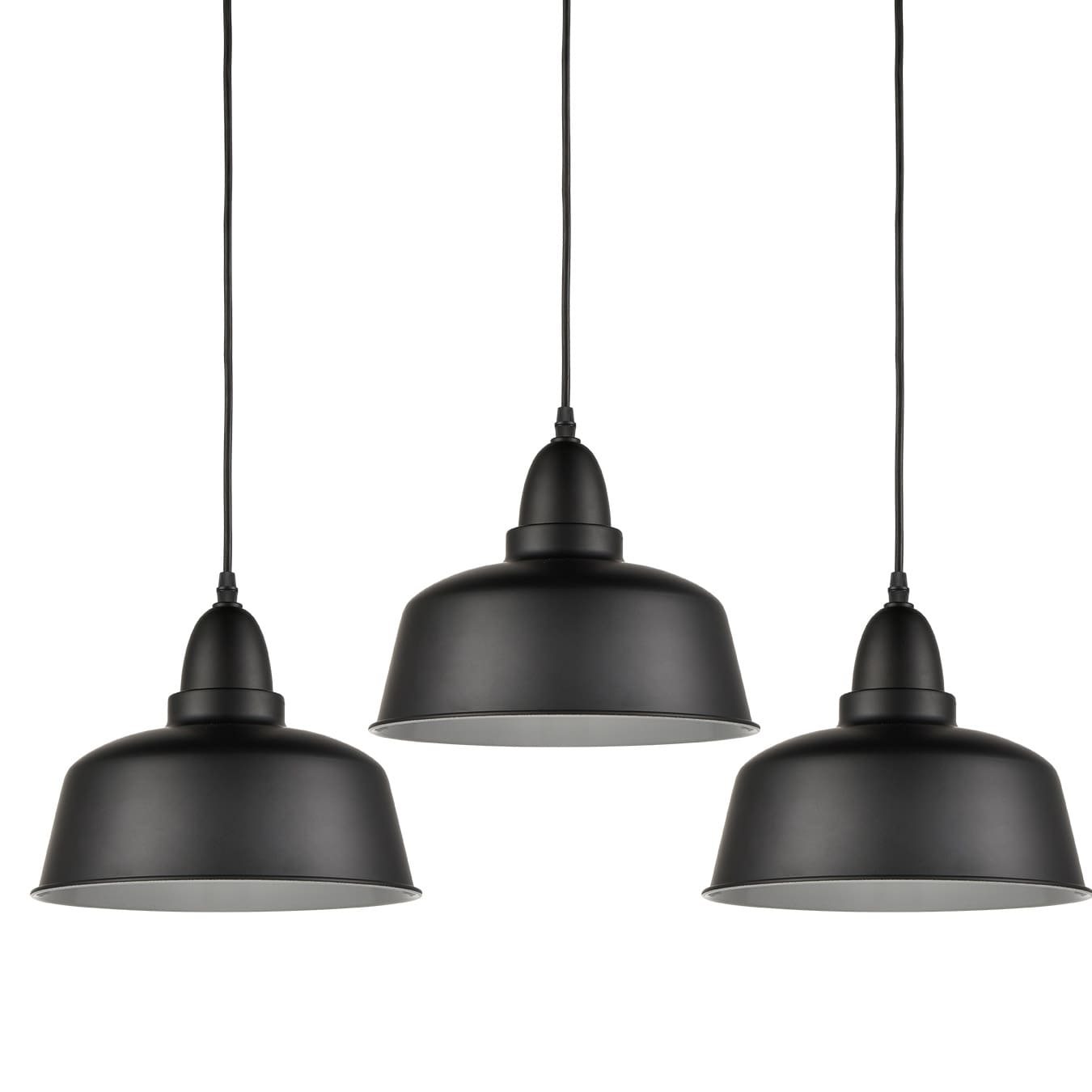 Matte Black Pendant Lighting 3 Pack Vinatge Hanging Metal Pendant Lights