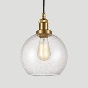Modern Brass Seeded Glass Pendant Lights Golden Finish