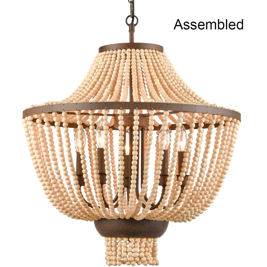 Rustic Wood Beaded Chandelier Candle Style Empire Shape – 5 Light