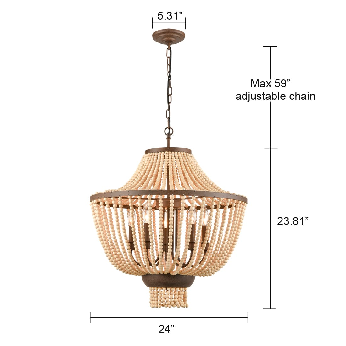 Rustic Candle Style Empire Wood Beaded Chandelier 5-Light