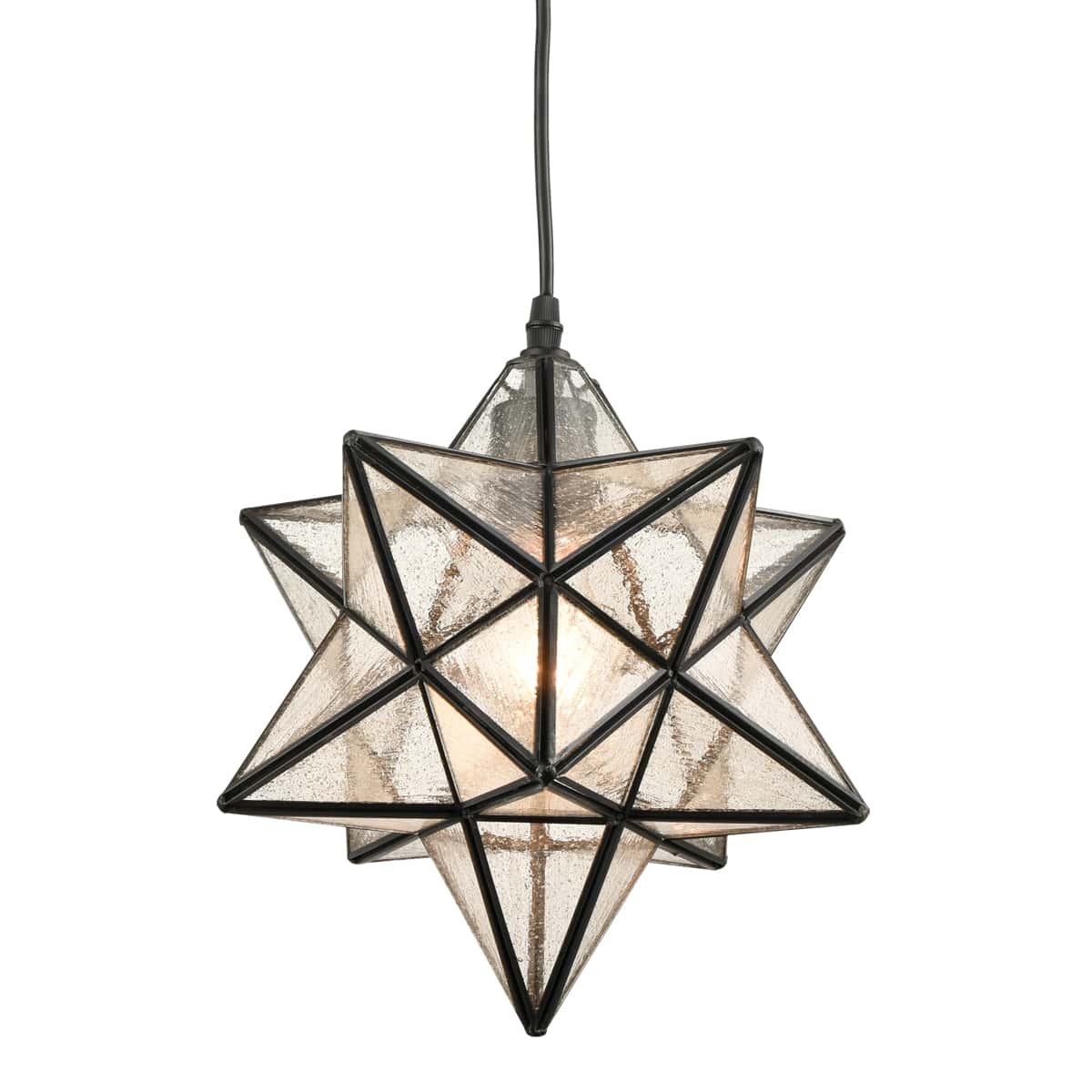 Moravian Star Pendant Light Seeded Glass Shade Inches