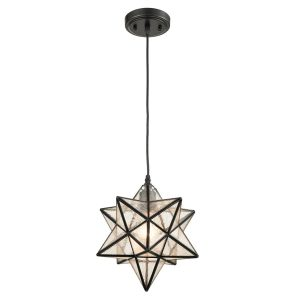Seeded Glass Shade Moravian Star Pendant Light 12''