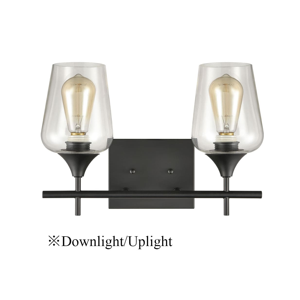 2-Light Bathroom Vanity Lighting Clear Glass Wall Sconces Matte Black