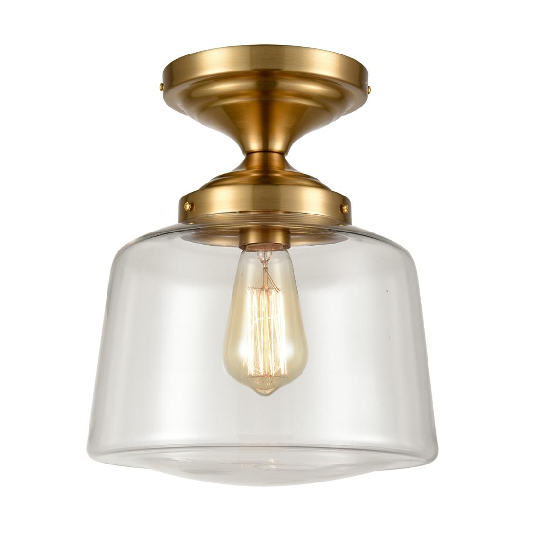 Modern Semi Flush Ceiling Light Brass Fixture with Ultra Clear Glass