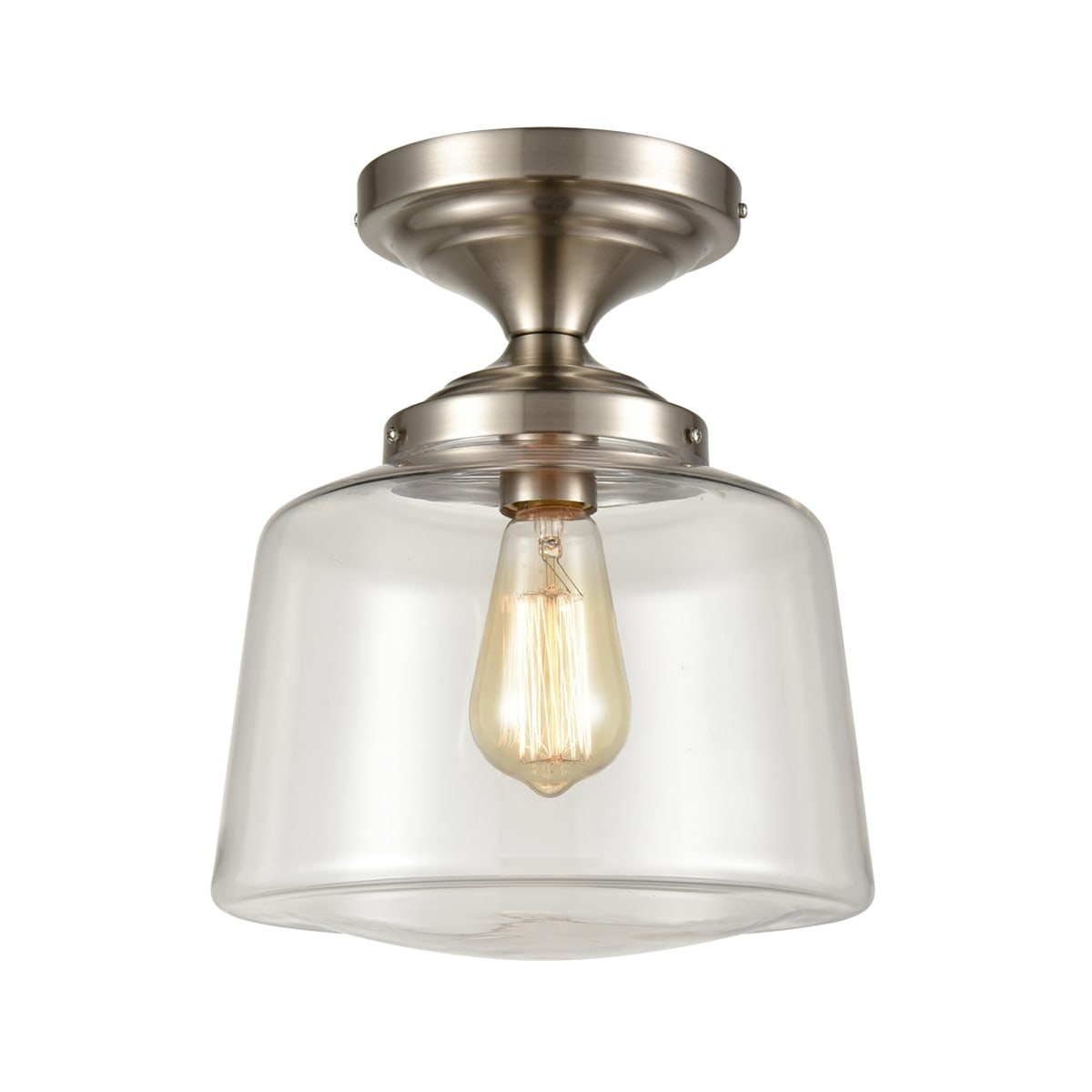 Modern Semi Flush Ceiling Light, Clear Schoolhouse Glass