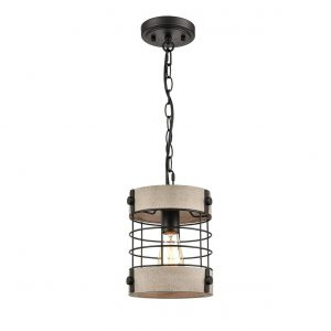 Rustic Wood and Metal Wire Cage Pendant Light Round Shape