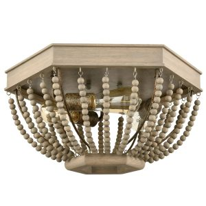 Wood Beaded Ceiling Light Distressed Gray Fixture
