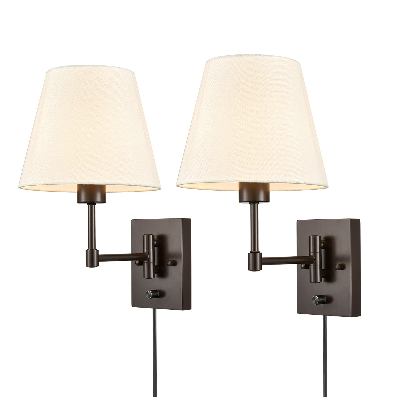 2 Pack Plug in Wall Lights Fabric Swing Arm Wall Lamps