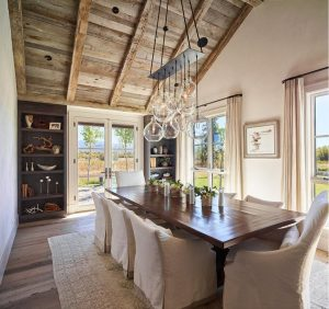 4rustic dining room, glass pendant