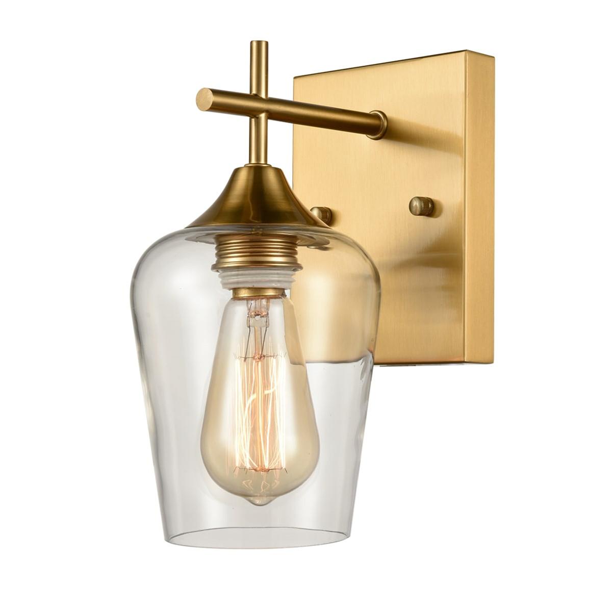 Modern Clear Glass Wall Sconces Brass Bathroom Wall Lights 8888
