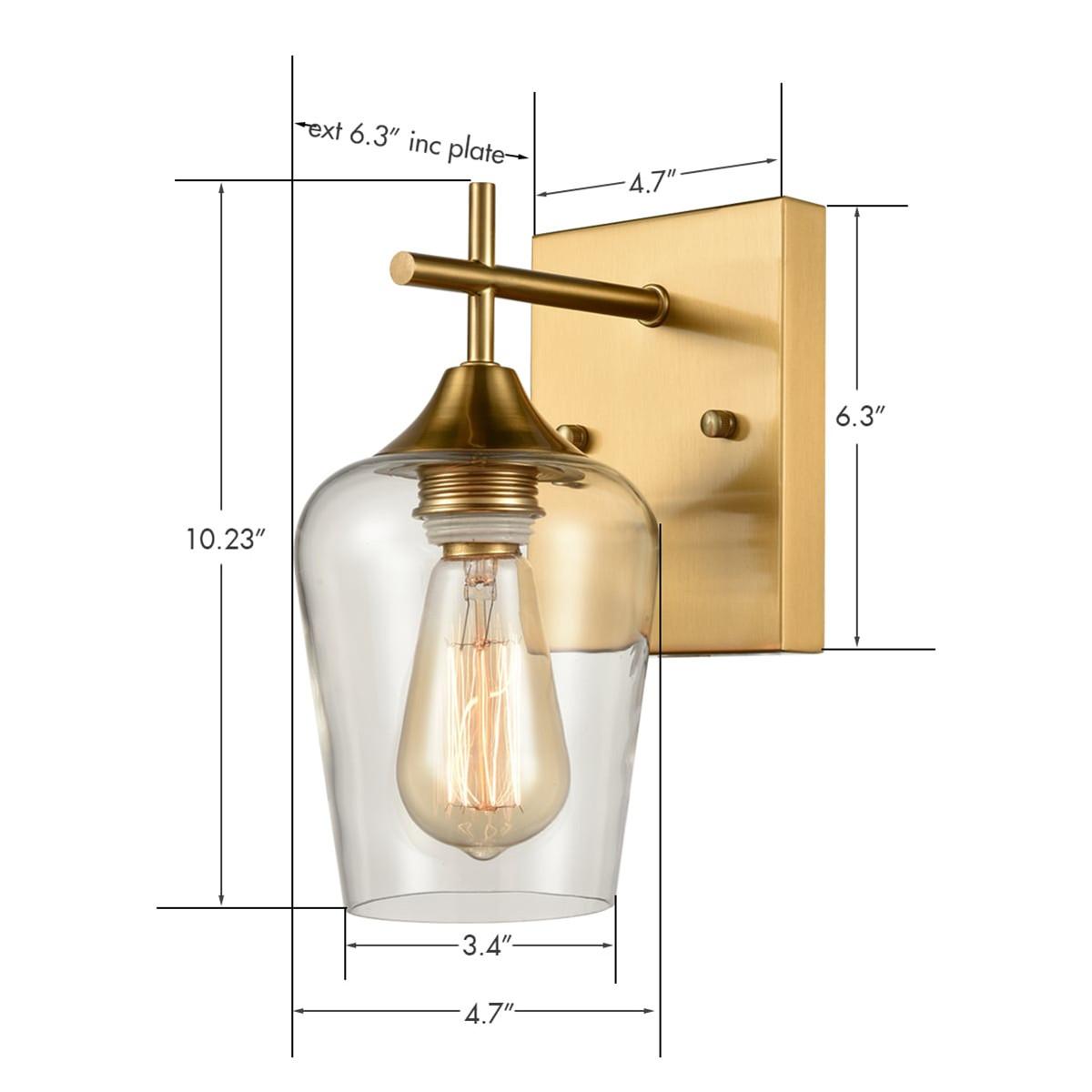 Modern Clear Glass Wall Sconces Brass Bathroom Wall Lights