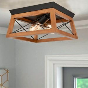 Rustic Square Cage Flush Mount Ceiling Lights, Red Oak