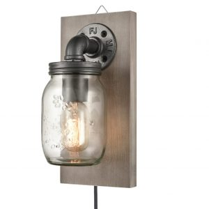 Farmhouse Plug-in Mason Jar Bedroom Wall Sconce Wood Plate