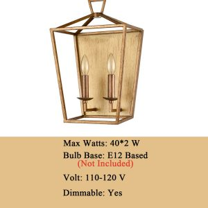 Antique Lantern Cage Wall Sconce Distressed Brass Lamp
