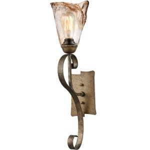 Art Deco Amber Glass Bronze Wall Sconce Lighting, 1-Light