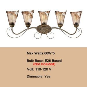 Art Deco Bathroom Vanity Lighting Amber Glass Shade - 5 Light