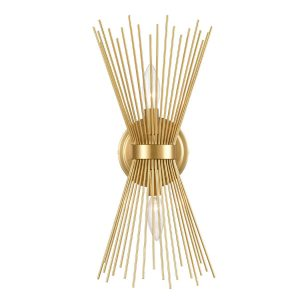 Brass 2-Light Vanity Light Mid-Century Starburst Wall Sconce Lamp