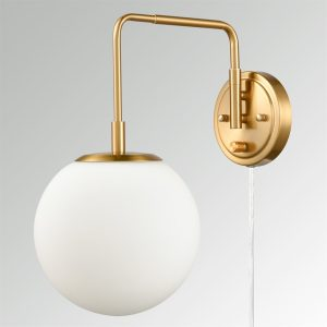 Plug-in Brass Wall Sconce Opal Globe Glass Modern Wall Sconce