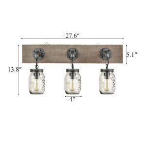 Farmhouse 3 Light Mason Jar Bathroom Vanity Lighting Wood & Glass