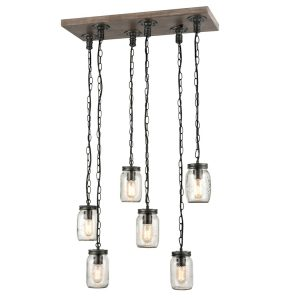 Farmhouse Mason Jar Pendant Island Chandelier 6-Light