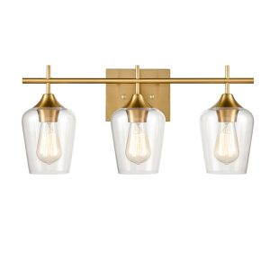 Industrial 3-Light Bathroom Vanity Lighting Brass Wall Sconce