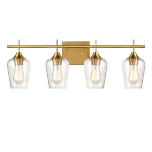 Industrial 4-Light Bathroom Vanity Light Brass Glass Wall Sconce