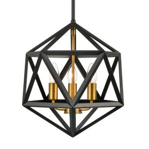 Industrial Gold and Black Pendant Lights 3 Light Hanging Lamp