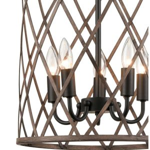 Rustic Metal Drum Pendant Chandelier Light Wood Finish 5-Light