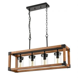Rustic Wood Linear Chandelier 4 Lights Kitchen Island Lighting