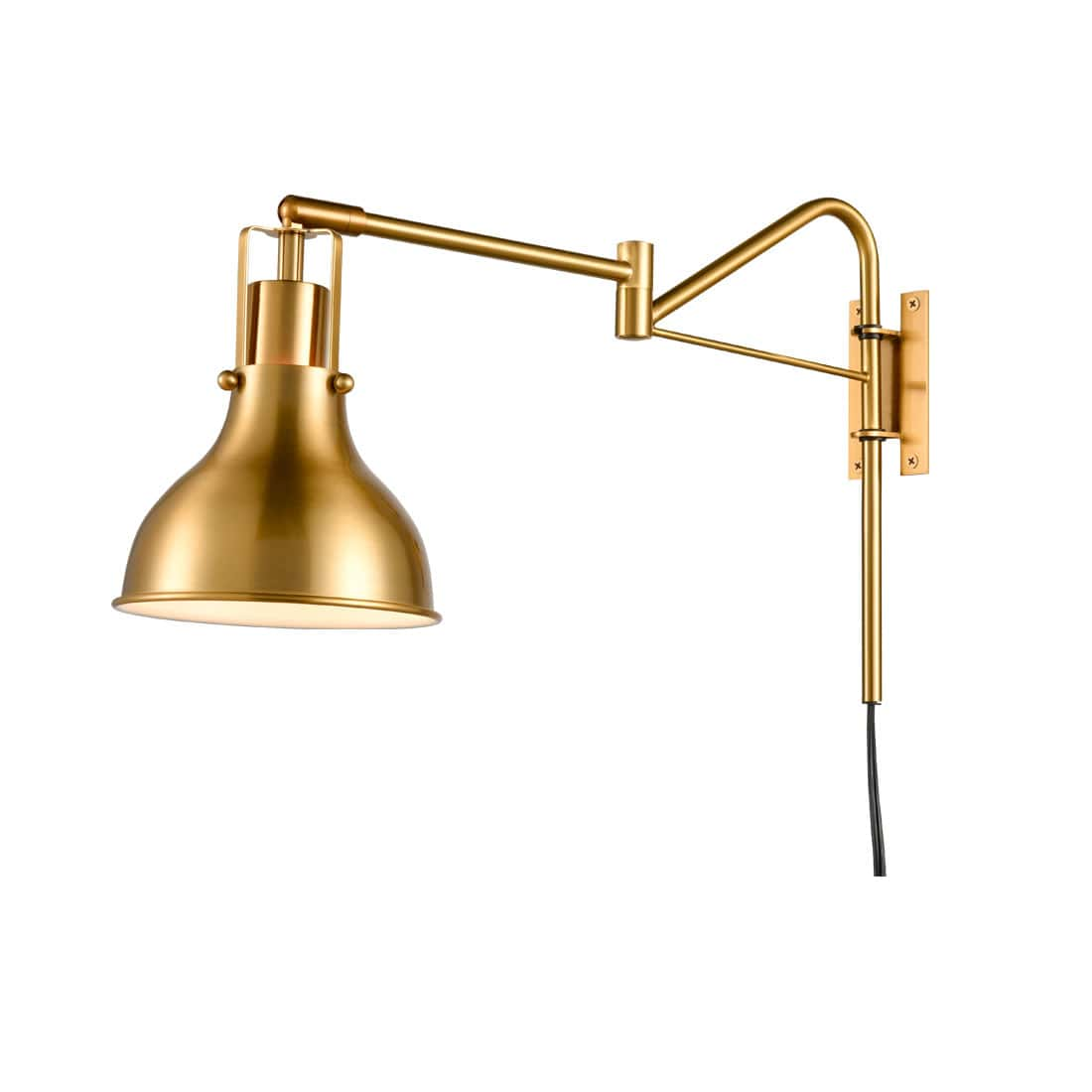 Swing Arm Bedside Reading Lamp Plug-in Wall Light Brass