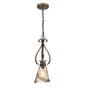 Vintage Glass Pendant Light Mini Kitchen Light with Amber Glass