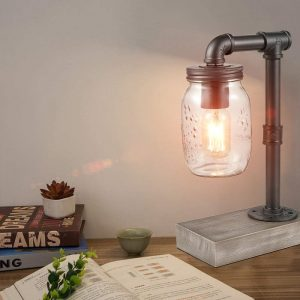 Vintage Mason Jar Table Lamp Disressed Wooden Base Reading Lamp