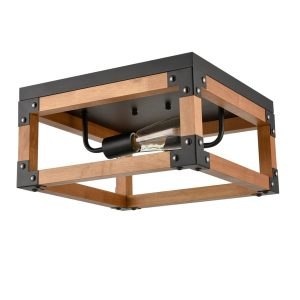 Wooden Square Cage Flush Mount Ceiling Lights, Red Oak