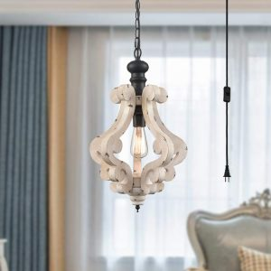 Farmhouse Plug in Distressed Wooden Pendant Lighting