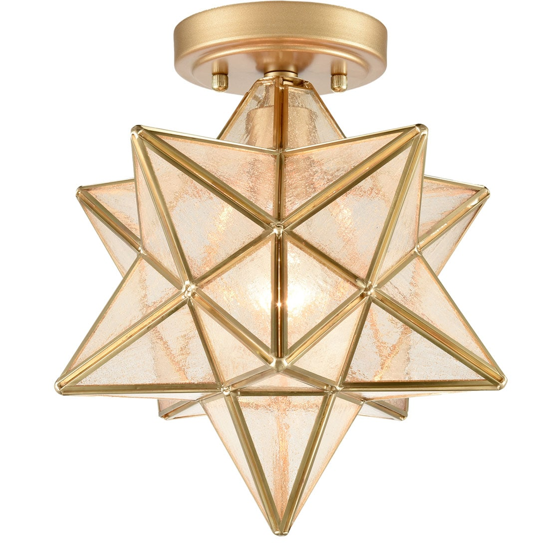 Modern Moravian Star Ceiling Light with Seeded Glass 8 Inches Brass
