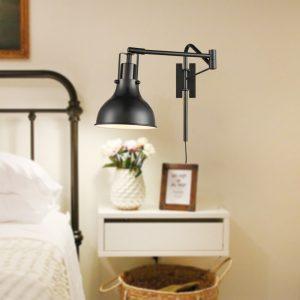 Swing Arm Bedside Reading Lamp Plug-in Wall Light Black
