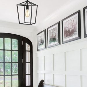 Industrial Metal Cage Semi Flush Mount Ceiling Light Matte Black