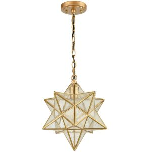 Brass Moravian Star Pendant Light 14-inch Seeded Glass Shade