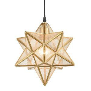 Brass Moravian Star Pendant Light Seeded Glass Shade 11-In
