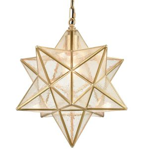 Brass Moravian Star Pendant Lights Seeded Glass Shade, 14-Inch