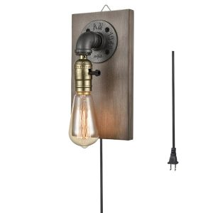 Farmhouse Water Pipe Plug in Wall Sconce with Wooden Base